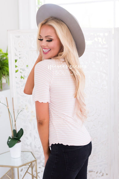 Pleasant Surprise Ribbed Modest Top Tops vendor-unknown