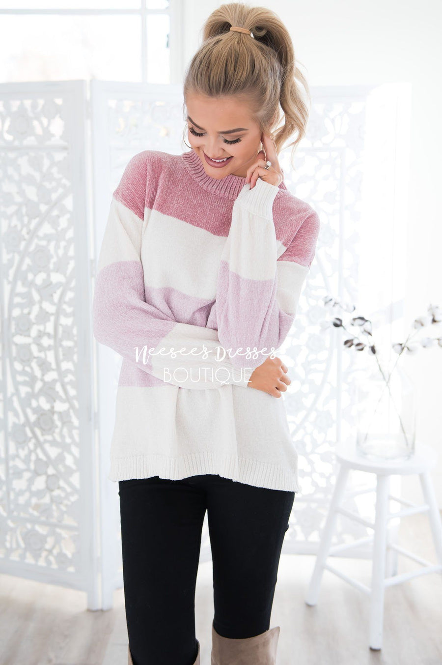 Blush Beauty Color-Block Sweater Modest Dresses vendor-unknown