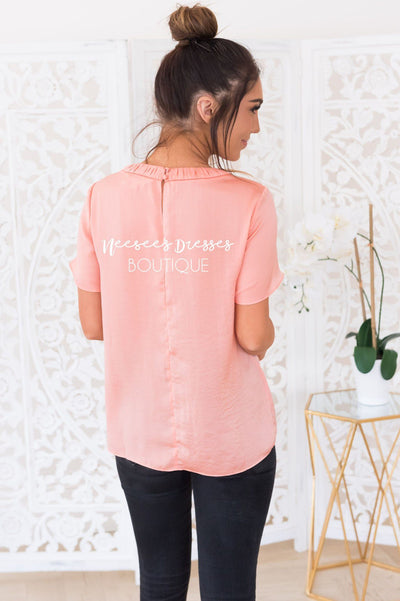 The Blooming Dahlia Modest Satin Blouse Tops vendor-unknown