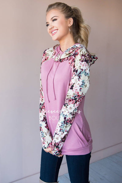 Bold and Brave Floral Hoodie Modest Dresses vendor-unknown