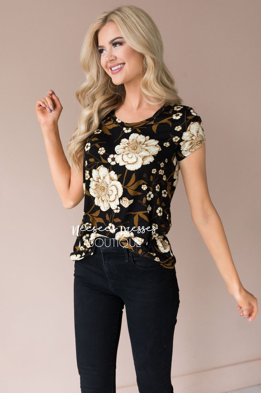 Bold Gold Floral Blouse
