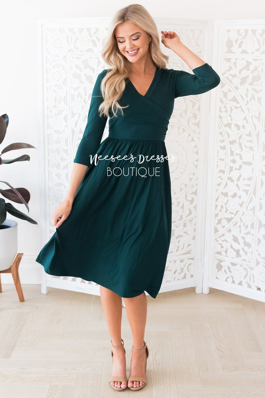 The Brandi 3/4 Length Sleeves Modest Dresses vendor-unknown