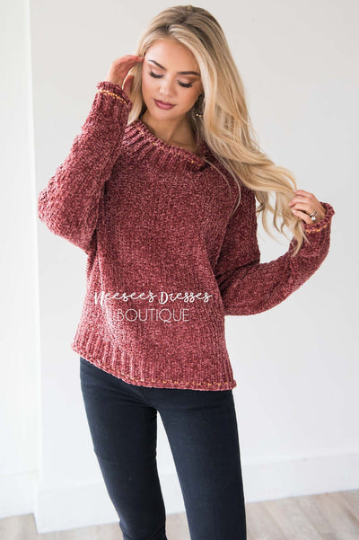 Soft Chenille Contrast Stitch Knit Sweater Tops vendor-unknown