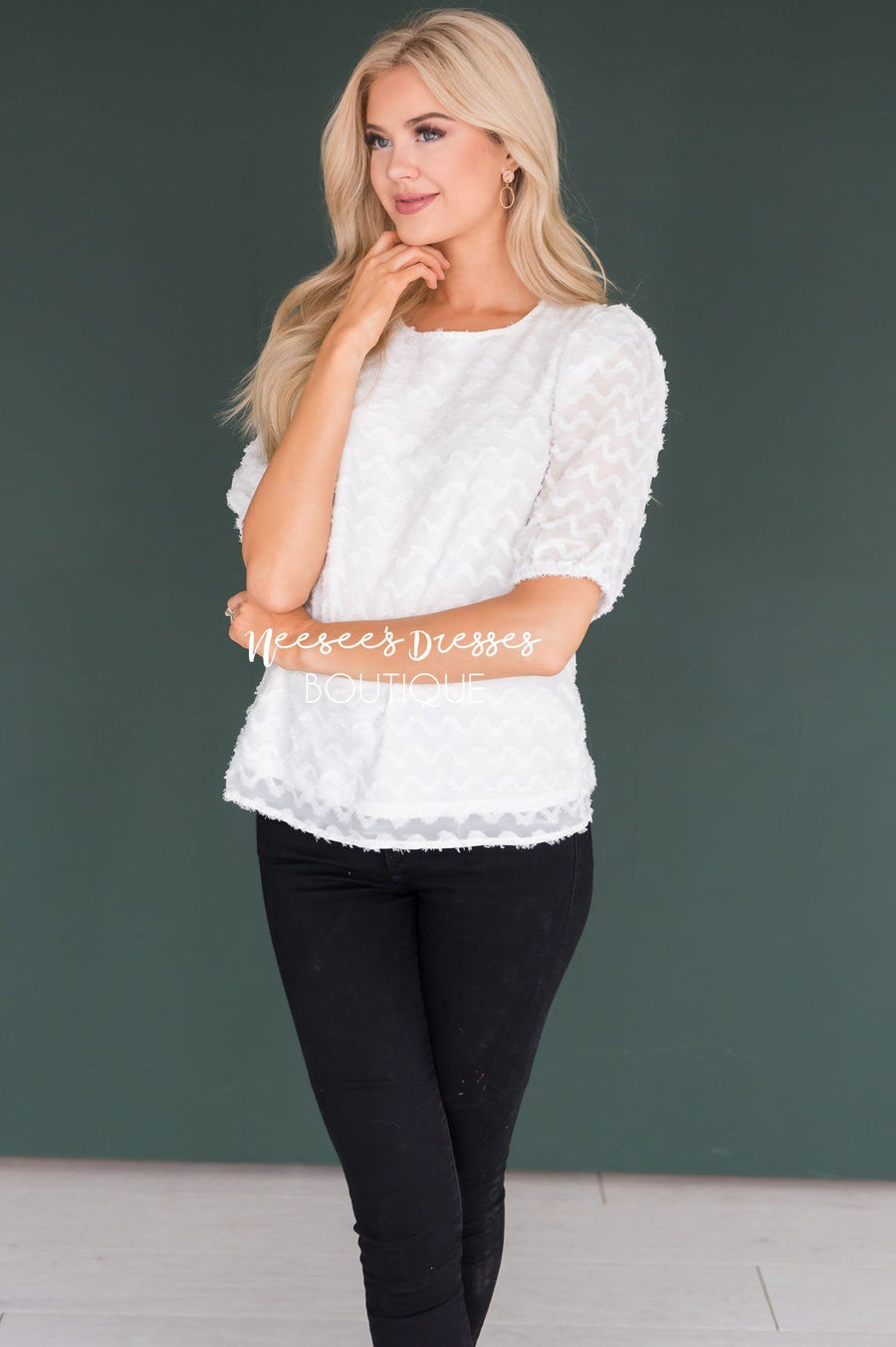 Brighter Days Textured Blouse Tops vendor-unknown