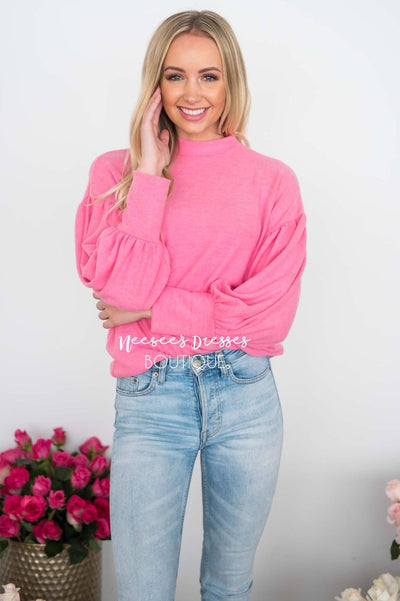 Hugs & Kisses Bubble Sleeve Sweater Tops vendor-unknown