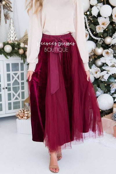 Lovely Velvet Tulle Maxi Skirt Modest Dresses vendor-unknown
