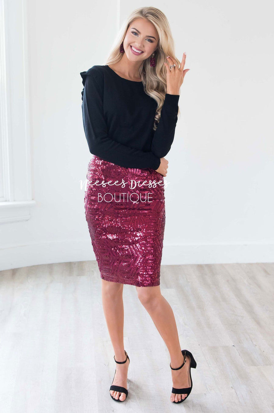 Sparkly Nights Burgundy Sequin Skirt