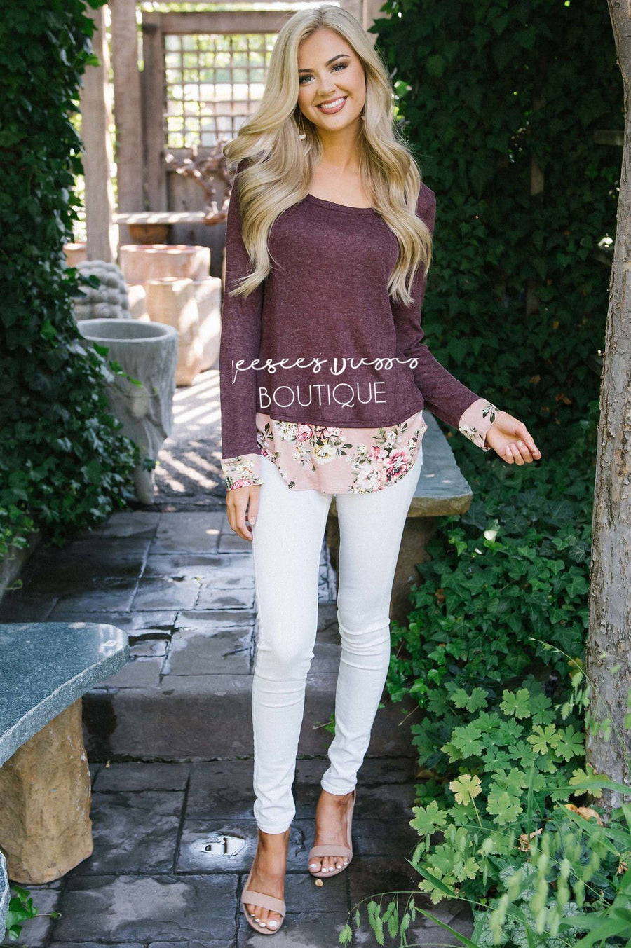 Pop of Floral Elbow Patch Sweater