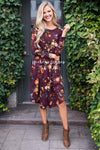 Burgundy In Bloom Long Sleeves Dress Modest Dresses vendor-unknown