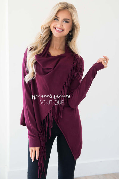 New Stories Fringe Wrap Sweater