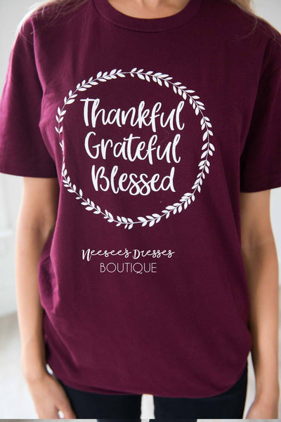 Thankful Grateful Blessed Graphic Tee Tops vendor-unknown