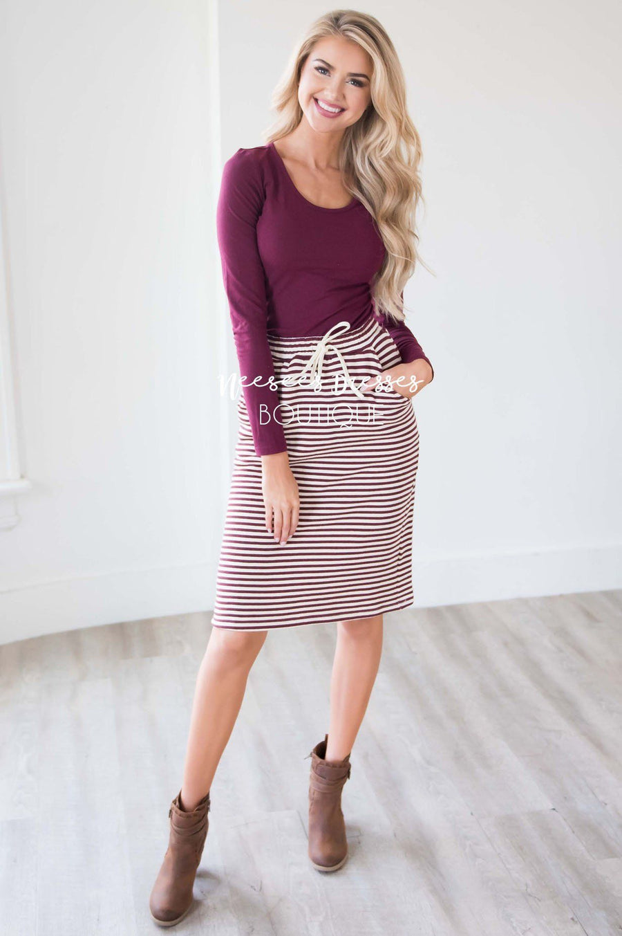 Burgundy Striped Skirt With Tie Waist Skirts vendor-unknown