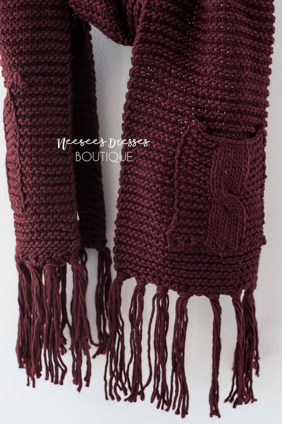 Chunky Knit Pocket Tassel Scarf Accessories & Shoes Leto Accessories