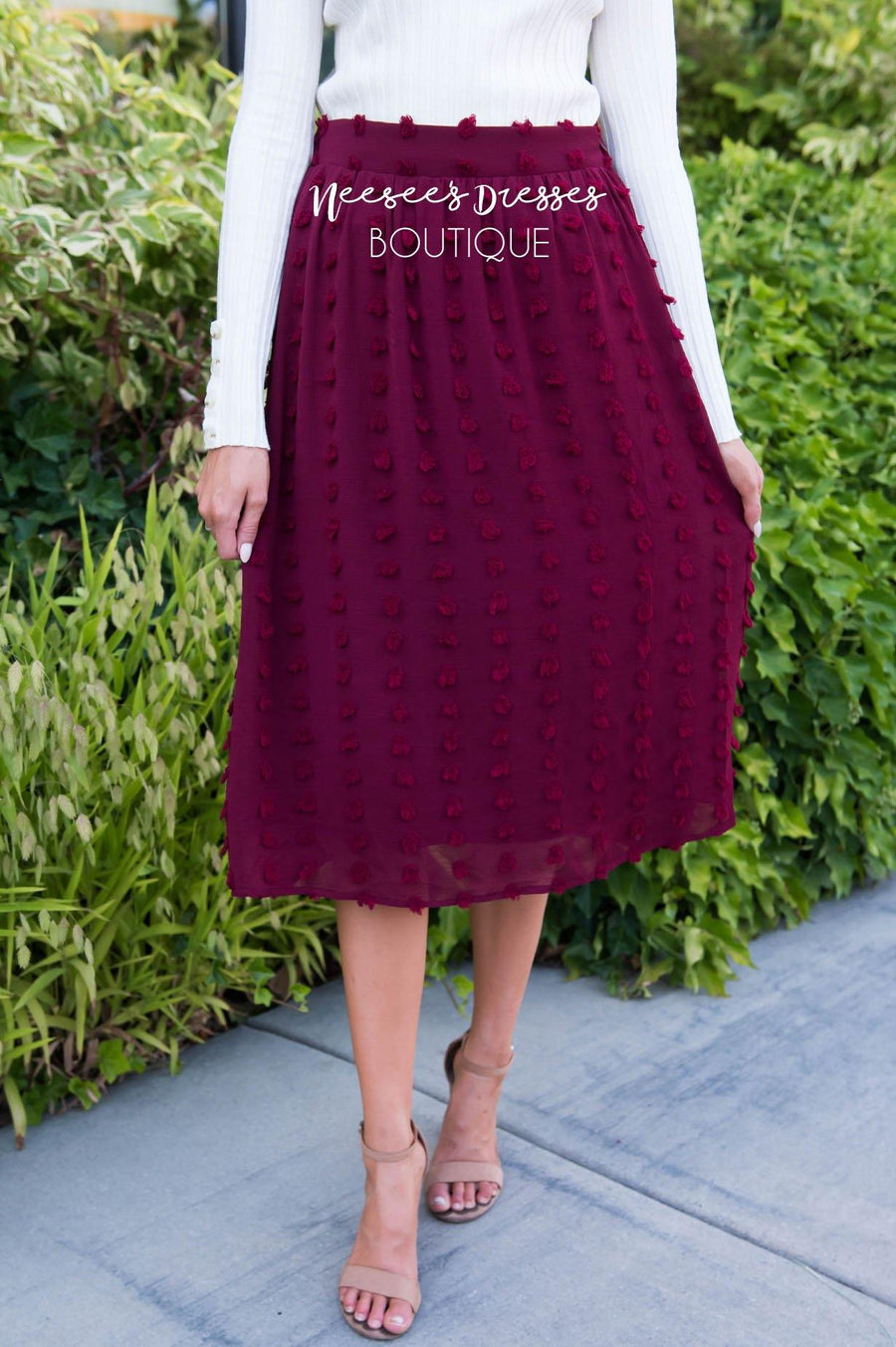 Burgundy Swiss dot Skirt