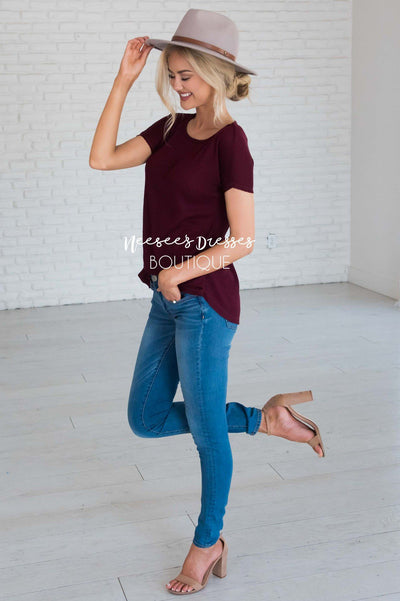 Dream Chaser Short Sleeve Thermal Top Modest Dresses vendor-unknown