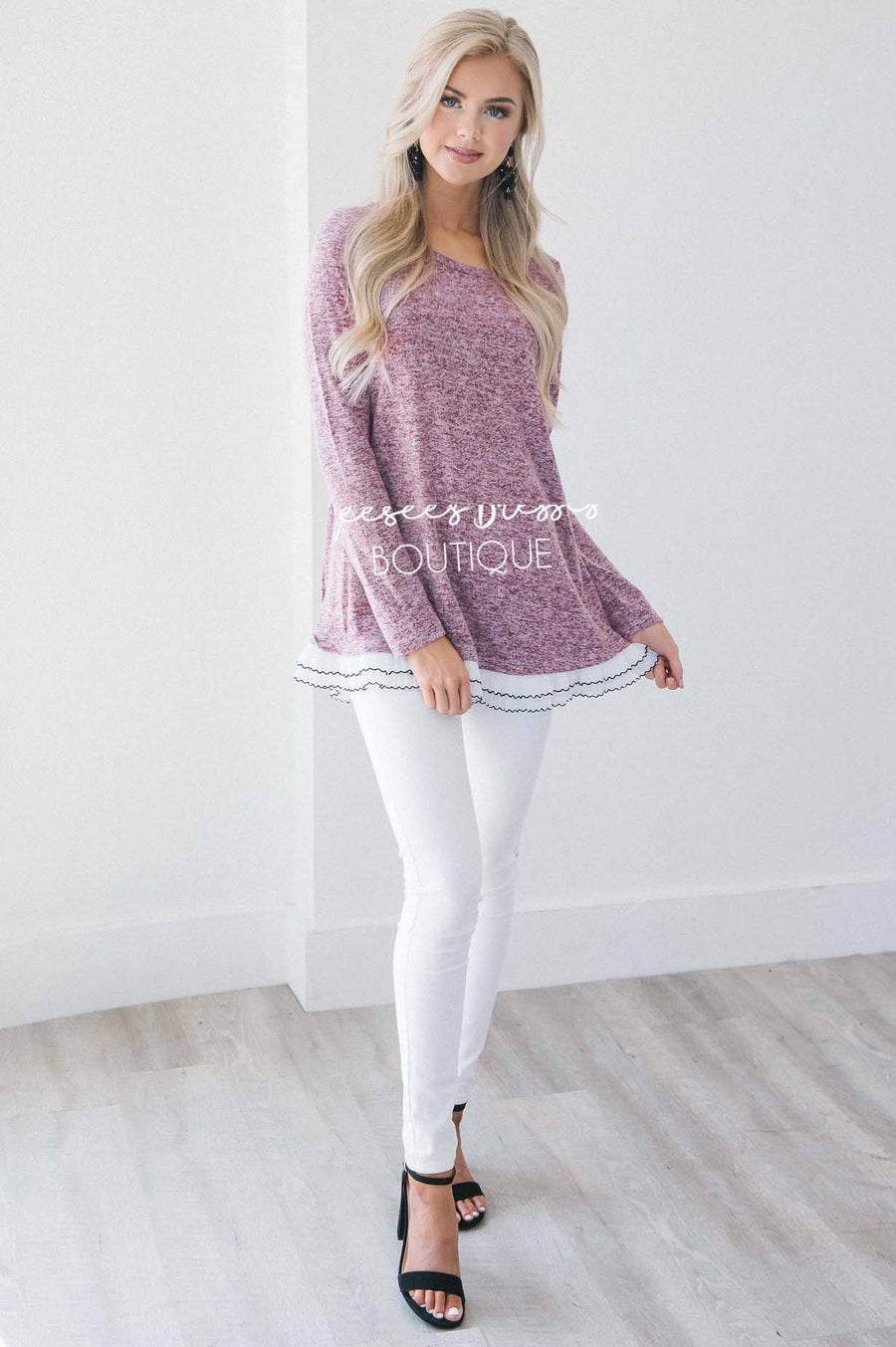 The Staci Ruffle Hem Sweater