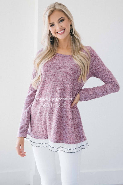 The Staci Ruffle Hem Sweater Tops vendor-unknown