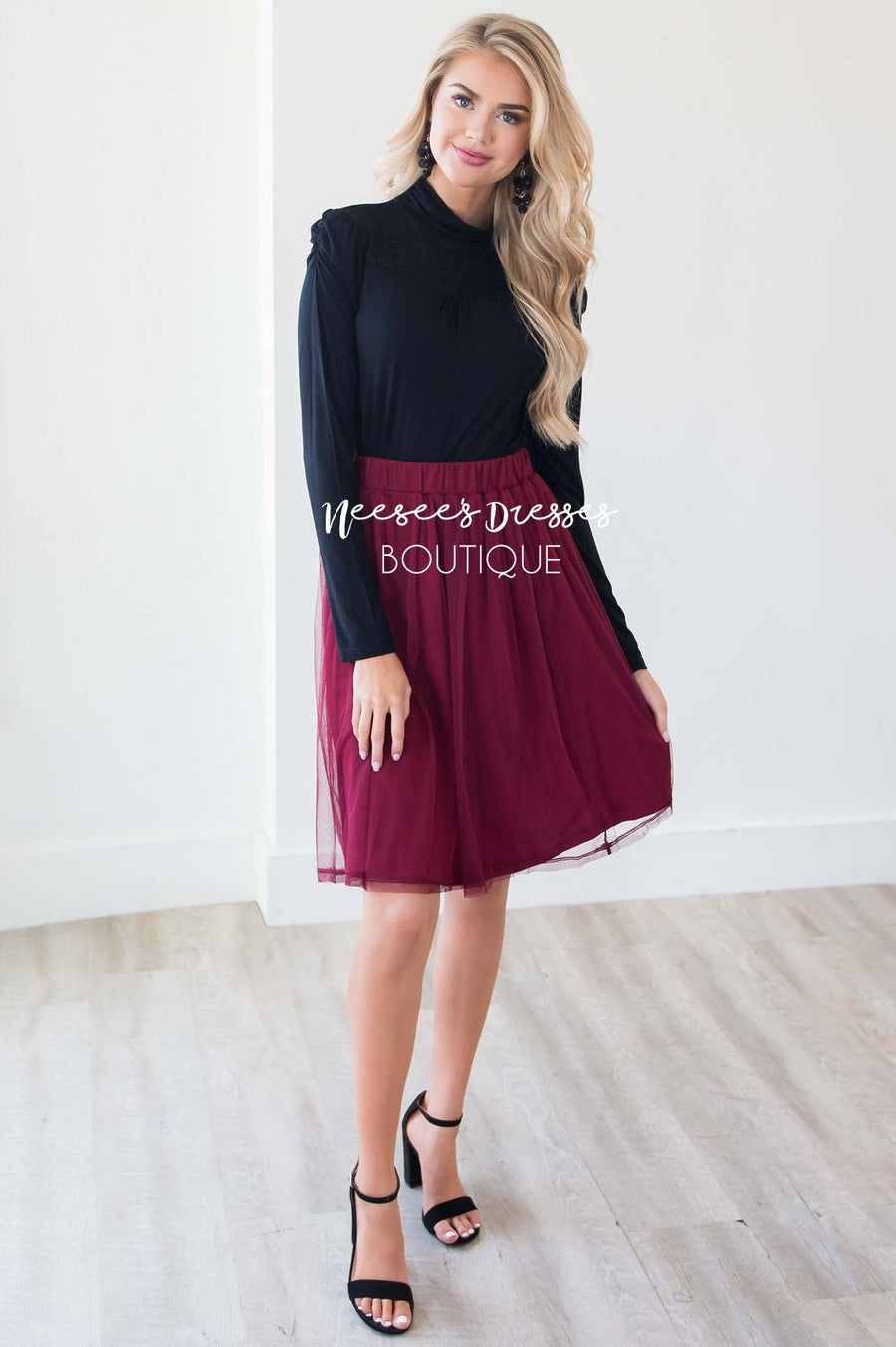 Burgundy Tulle Aline Skirt Skirts vendor-unknown