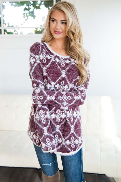 Fuzzy Aztec Print Tunic Tops vendor-unknown