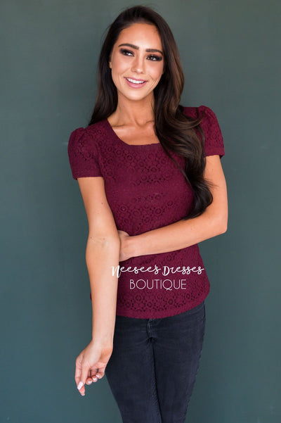 Eyelet Lace Blouse Tops vendor-unknown