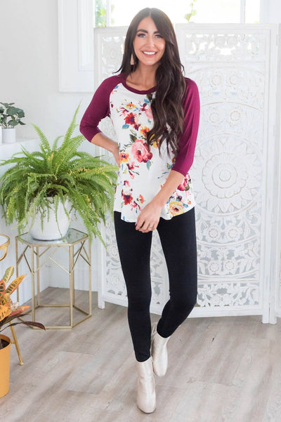 Floral Beauty Modest Baseball Tee Modest Dresses vendor-unknown
