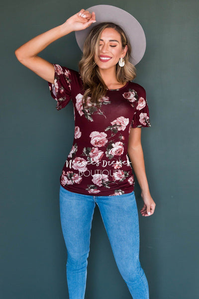 Burgundy Floral Modest Ruffle Sleeve Top Tops vendor-unknown