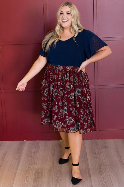 Burgundy Cluster Floral Chiffon Skirt Skirts vendor-unknown