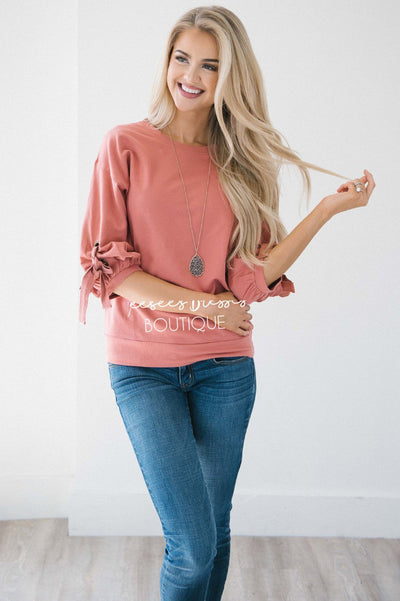 Gathered Tie Sleeve Sweatshirt
