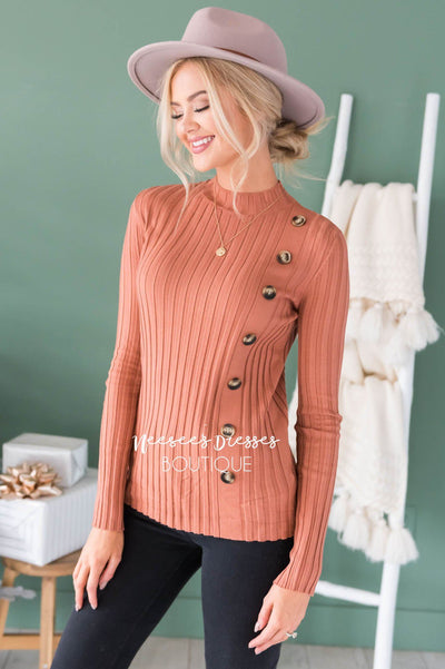 Button Up Ribbed Sweater Modest Dresses vendor-unknown