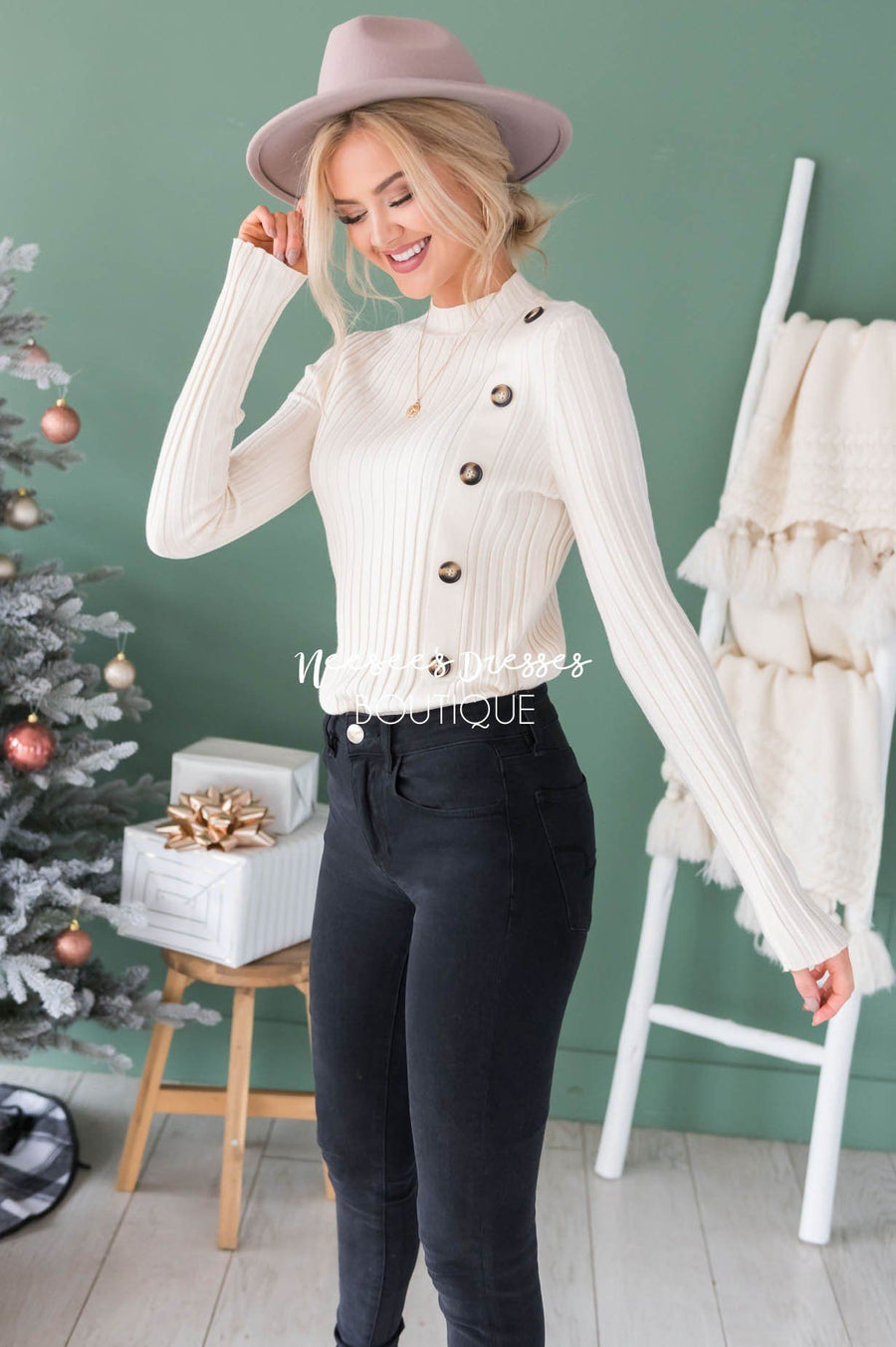 Button Up Ribbed Sweater