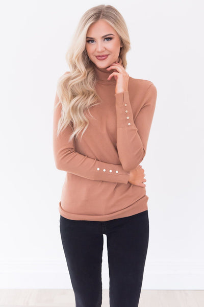 All About The Details Modest Turtleneck Tops vendor-unknown