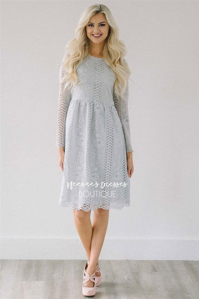 Love At First Sight Light Silver Lace Dress Modest Dresses vendor-unknown