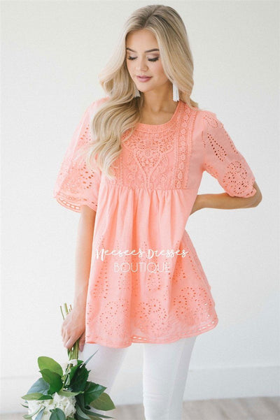 Baby Doll Eyelet Embroidered Top Tops vendor-unknown S Coral