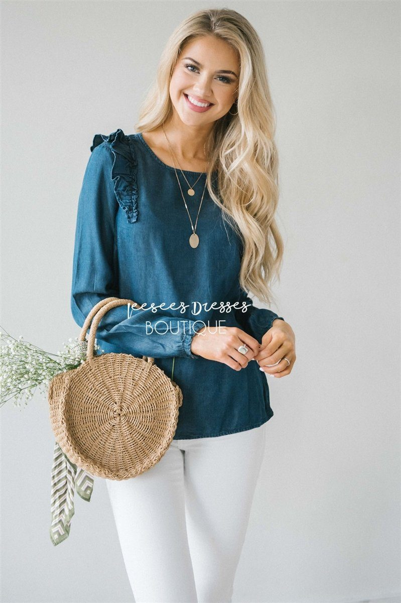 Ruffle Shoulder Long Sleeve Chambray Top Tops vendor-unknown Dark Chambray XS