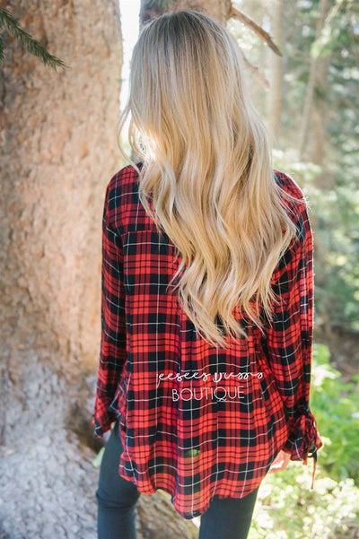 Plaid Button Down Tie Sleeve Top Tops vendor-unknown