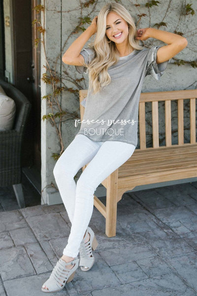 Double Ruffle Sleeve Scoop Neck Top