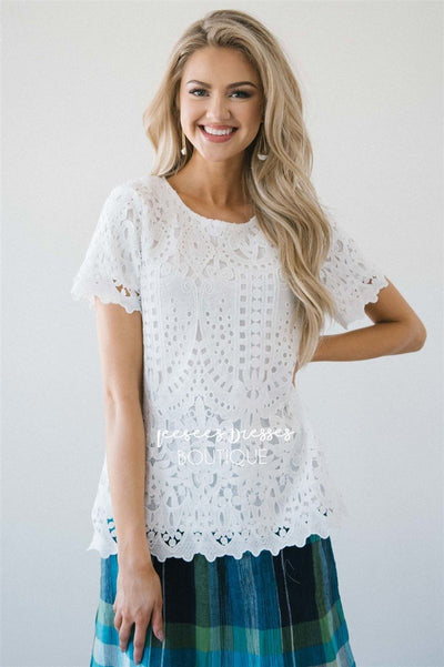 Graceful Crochet Lace Top Tops vendor-unknown Ivory S