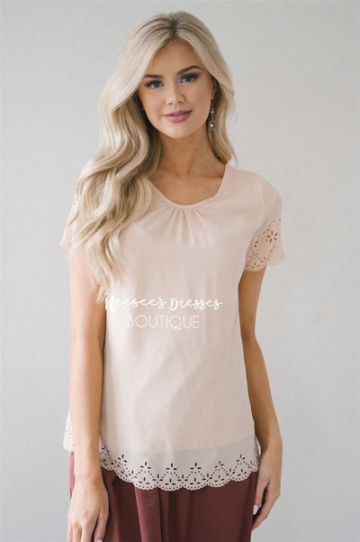 Eyelet Scallop Chiffon Top Tops vendor-unknown Cream XS