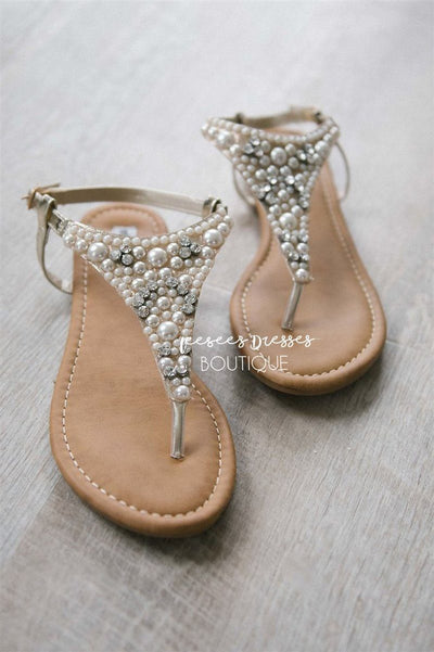 Panpora Pearl Sandals Accessories & Shoes vendor-unknown Gold Pearl 6