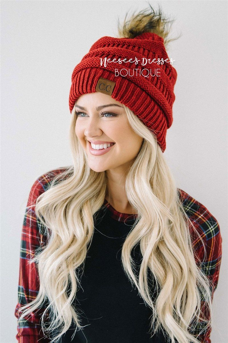 Burgundy Fur Pom Knit Beanie