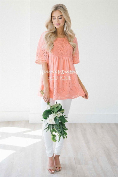 Baby Doll Eyelet Embroidered Top