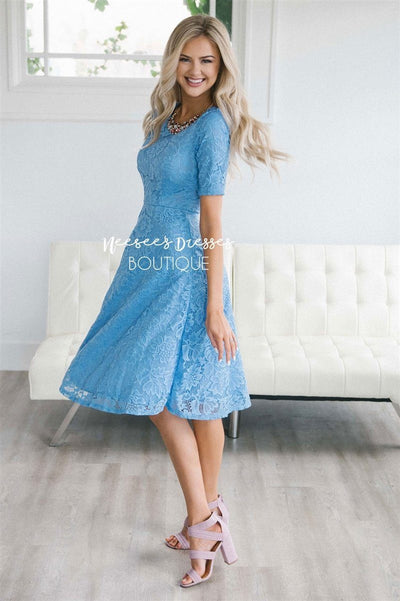The Stella Modest Dresses vendor-unknown Cornflower Blue XS