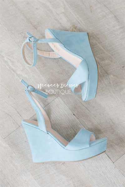 Dusty Blue Wedges Accessories & Shoes vendor-unknown Dusty Blue 5.5