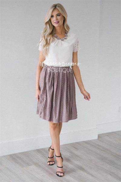 Pretty Dusty Mauve Lace Skirt Skirts vendor-unknown Dusty Mauve XS