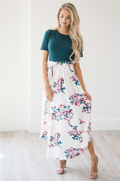 The Kayla Modest Dresses vendor-unknown Emerald/Ivory Floral S