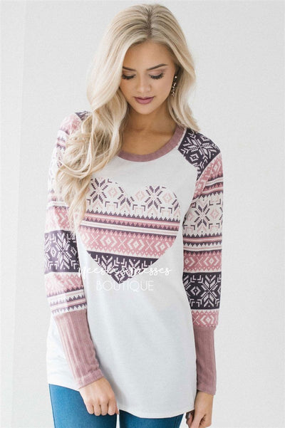 Nordic Heart Valentine's Day Top Tops vendor-unknown White S