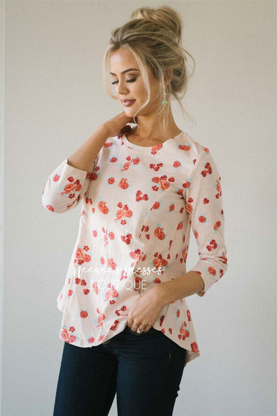 Light Up Pink Floral Top Tops vendor-unknown Light Pink XS