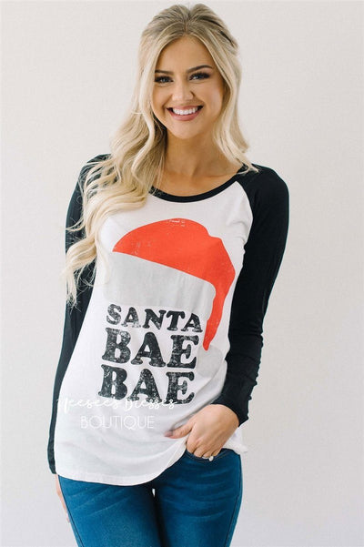 Santa Bae Bae Top Tops vendor-unknown White with Black S