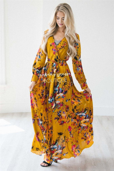 The Amanda Modest Dresses vendor-unknown Rustic Gold Floral S