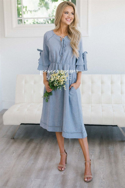 The Aryn Modest Dresses vendor-unknown S Chambray Blue